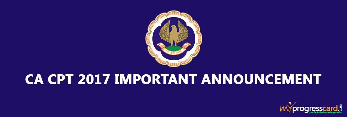 CACPT 2017 IMPORTANT ANNOUNCEMENT