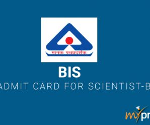 Bureau of Indian Standards – Admit Card for Scientist-B
