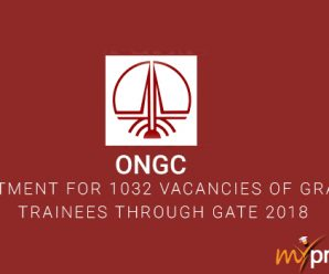 ONGC Recruitment for 1032 Vacancies of Graduate Trainees through GATE 2018