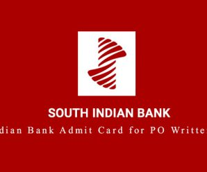 South Indian Bank Admit Card for PO Written Test is Out