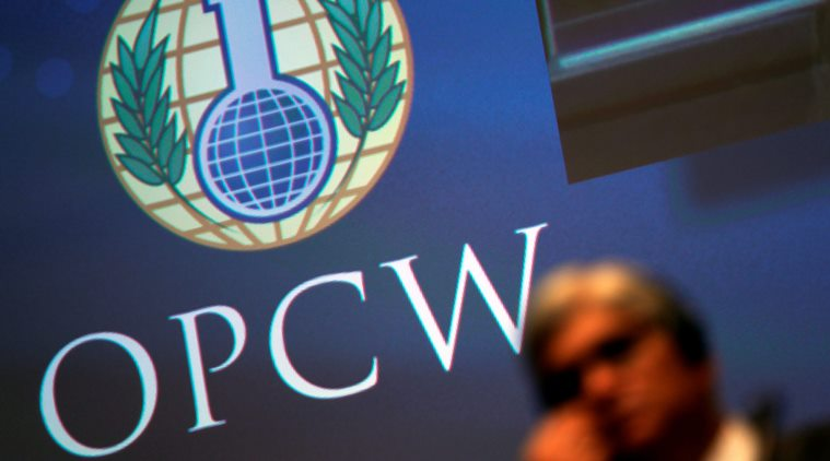 The logo of the Organisation for the Prohibition of Chemical Weapons is seen during a special session in the Hague,