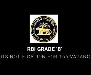 RBI Grade 'B' 2018 Notification for 166 Vacancies