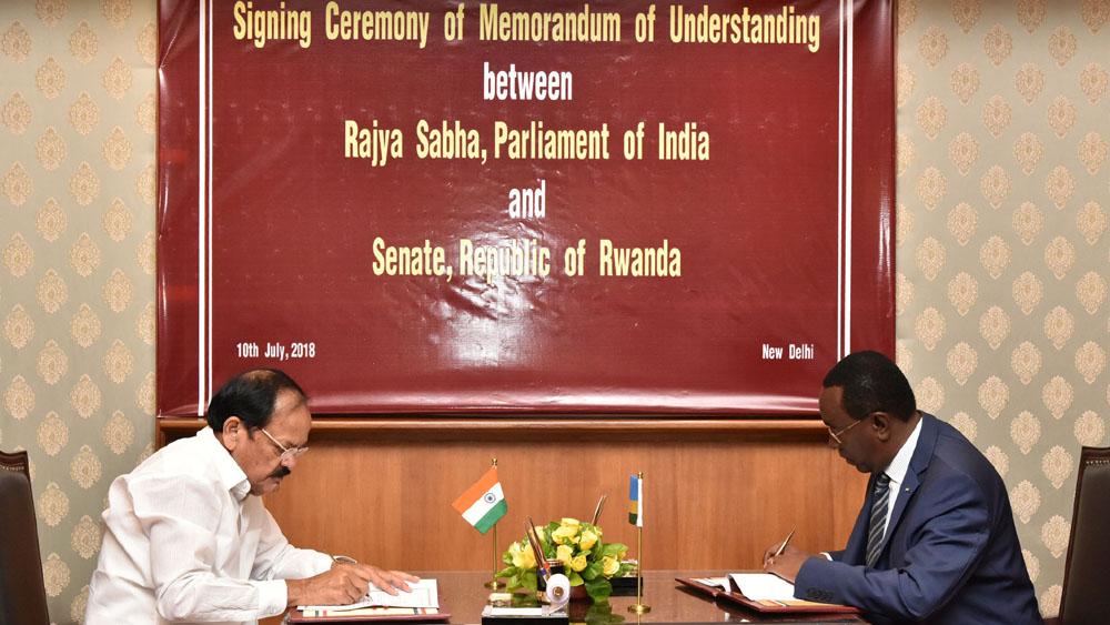 Shri M. Venkaiah Naidu becomes the first Chairman of Rajya Sabha to sign